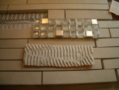 glass mosaic insert with ditra