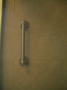 Waterproof grab bar installed