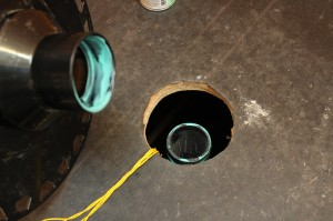 Install adhesive to drain and pipe