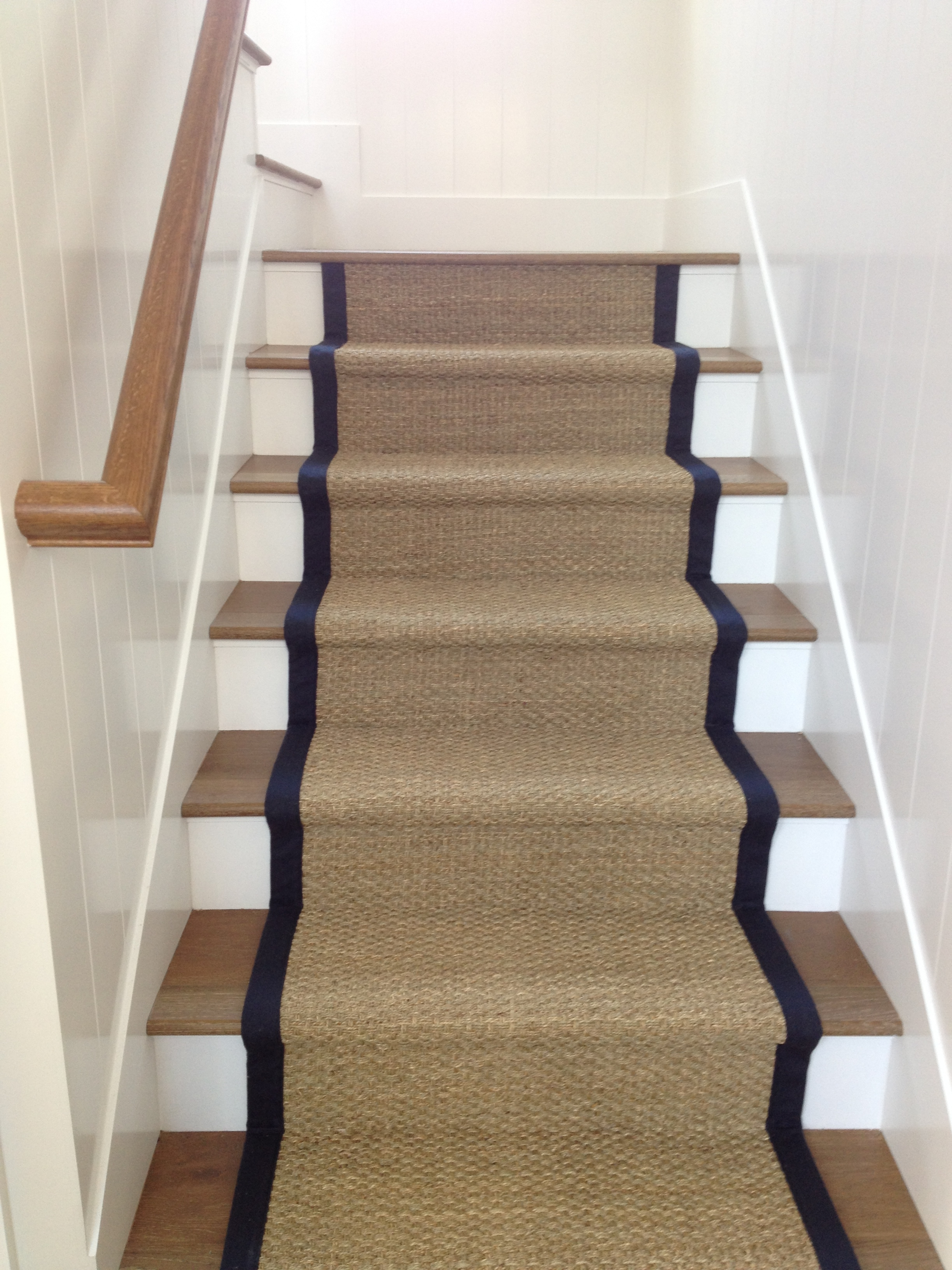 Seagrass Stair Runner With Microfiber Binding Hemphill S Rugs | Seagrass Carpet On Stairs | Gray Wood | Hard Wearing | Grey | Stair Malay Chen Sisal | 80 20 Wool Carpet Stair