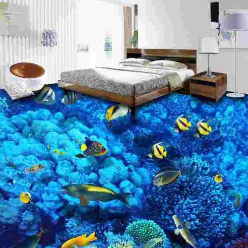 3D Bedroom Epoxy Flooring Design Deep Sea Themed - 3D Bedroom Epoxy Flooring Design - Deep Sea Themed