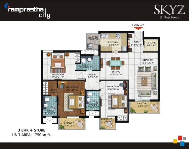 Ramprastha Skyz Floor Plan 3 BHK + Store - 1750 Sq. Ft.