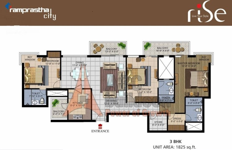 Ramprastha Rise Floor Plan 3 BHK + Store – 1825 Sq. Ft.