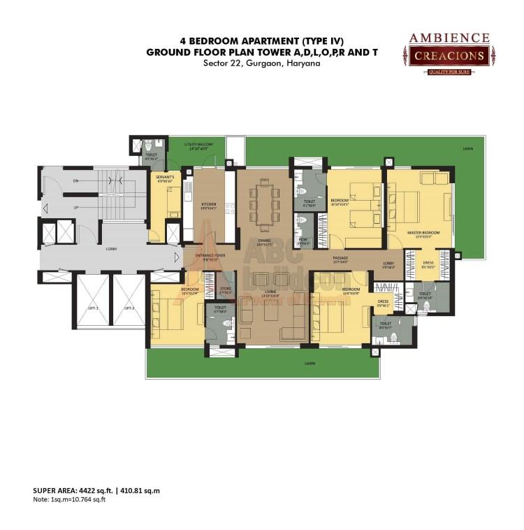 Ambience Creacions Floor Plan 4 BHK + S.R – 4422 Sq. Ft.