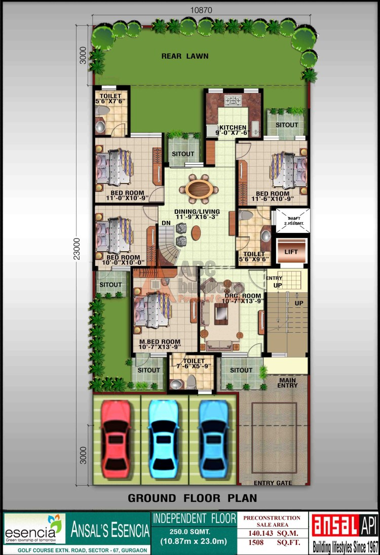 Ansal Sovereign Floor Plan 4 BHK – 1508 Sq. Ft. - Ground Floor