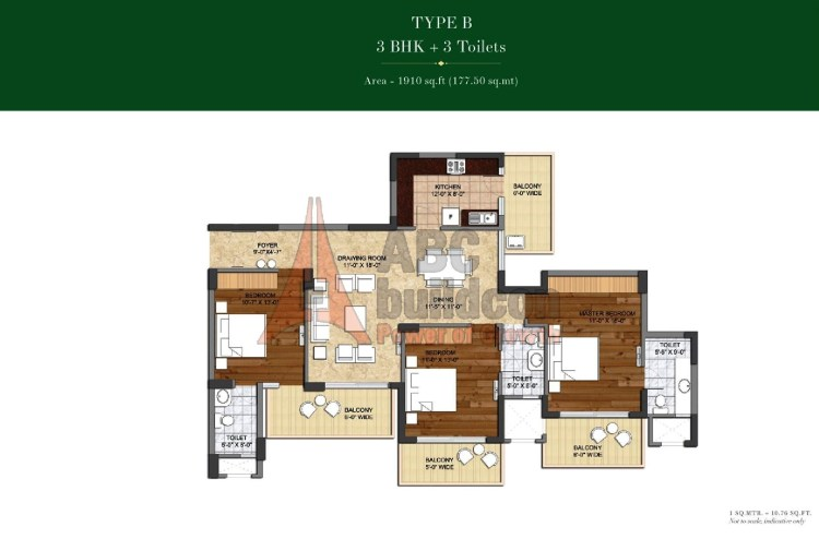Ashiana Landcraft Center Court Floor Plan 3 BHK – 1910 Sq. Ft.