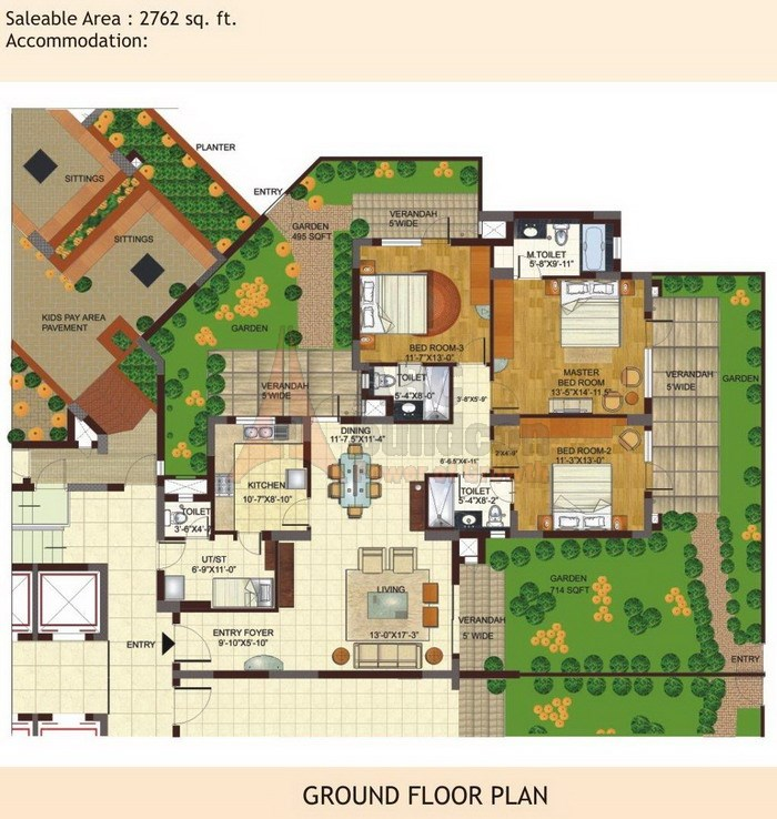 BPTP Freedom Park Life Floor Plan 3 BHK + S.R + Garden – 2762 Sq. Ft.