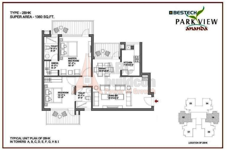 Bestech Park View Ananda Floor Plan 2 BHK – 1360 Sq. Ft.