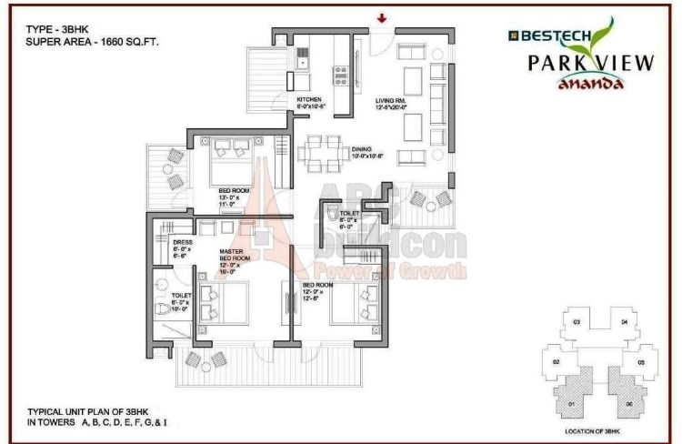 Bestech Park View Ananda Floor Plan 3 BHK – 1660 Sq. Ft.