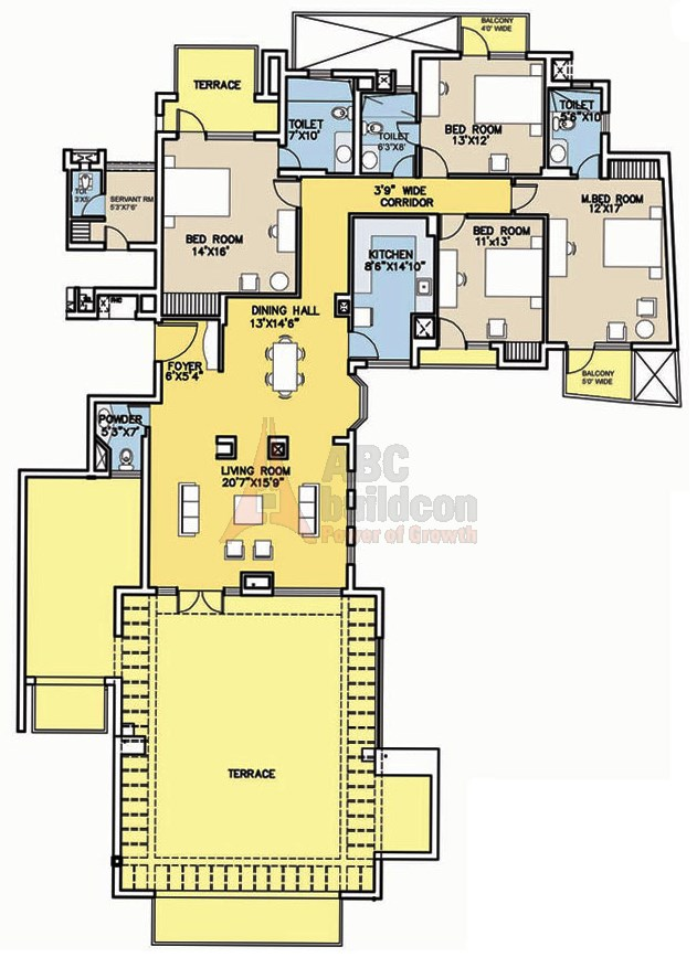Bestech Park View City 2 Floor Plan 4 BHK + S.R + Terrace – 2639 Sq. Ft.