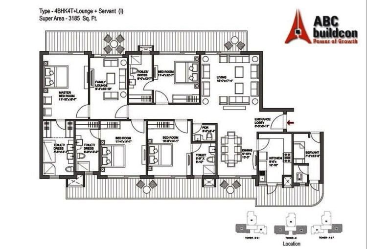 Bestech Park View Grand Spa Floor Plan 4 BHK + S.R + F.L – 3185 Sq. Ft.
