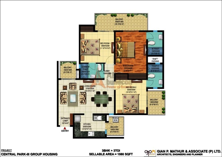 Central Park 3 Floor Plan 3 BHK – 1560 Sq. Ft.
