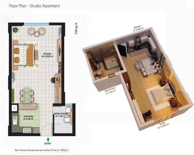 Central Park II The Room Floor Plan 1 BHK ( Studio) – 715 - 790 Sq. Ft.