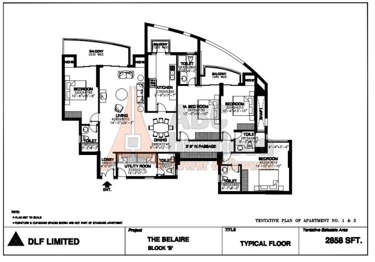 DLF Belaire Floor Plan 4 BHK + S.R – 2858 Sq. Ft.