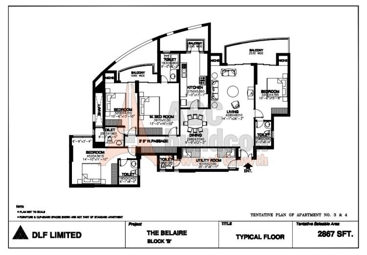 DLF Belaire Floor Plan 4 BHK + S.R – 2867 Sq. Ft.