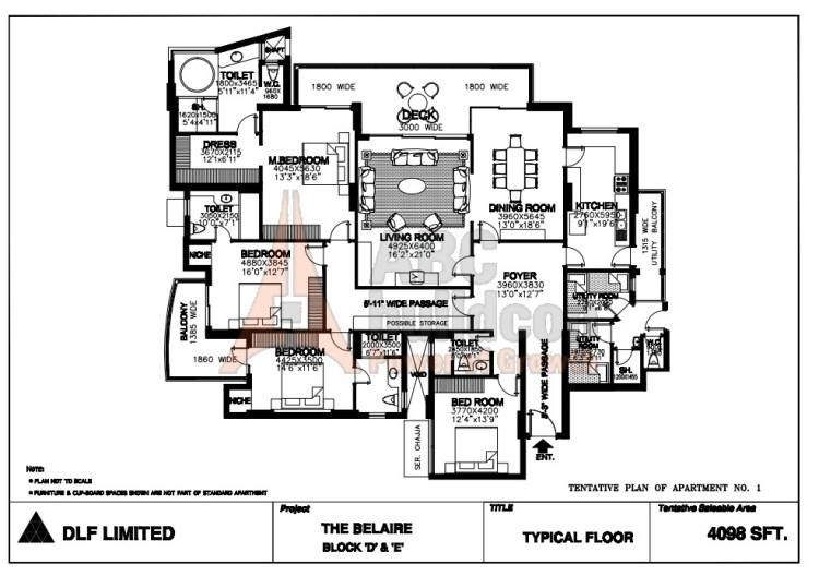 DLF Belaire Floor Plan 4 BHK + S.R + Store – 4098 Sq. Ft.