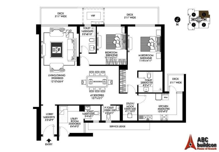 DLF Crest Floor Plan 2 BHK + S.R + Study – 2225 Sq. Ft.