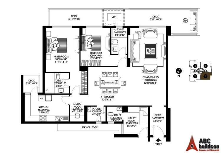 DLF Crest Floor Plan 2 BHK + S.R + Study – 2349 Sq. Ft.