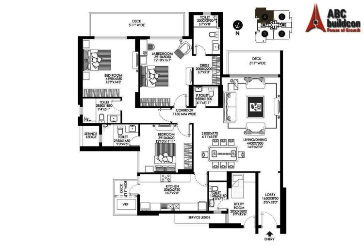 DLF Crest Floor Plan 3 BHK + S.R – 2644 Sq. Ft.