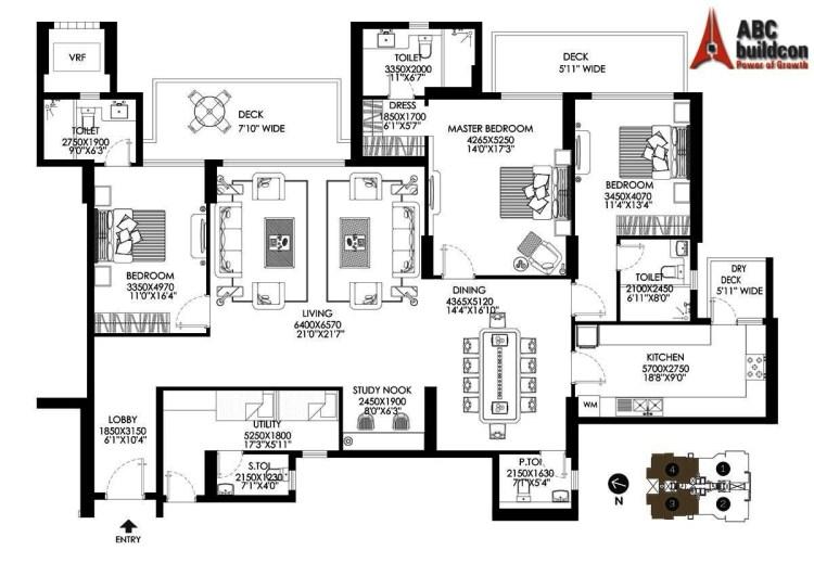 DLF Crest Floor Plan 3 BHK + S.R + Study – 3087 Sq. Ft.