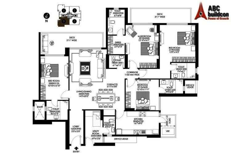 DLF Crest Floor Plan 4 BHK + S.R – 3088 Sq. Ft.
