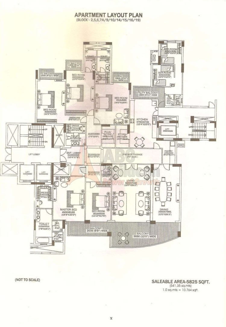 DLF Magnolias Floor Plan 4 BHK + 2 S.R + Store + Pooja Room  – 5825 Sq. Ft.