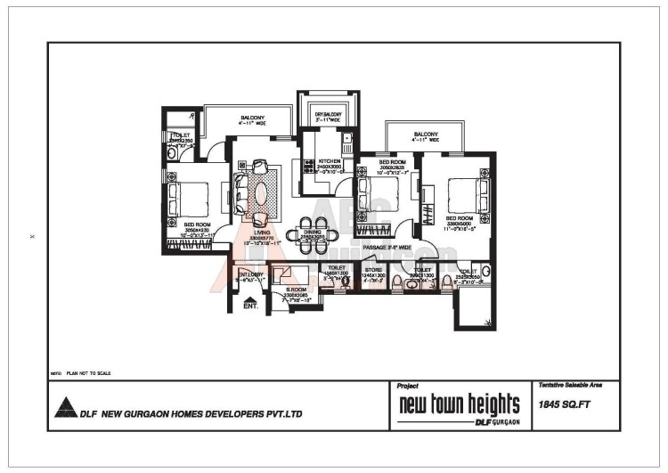 DLF New Town Heights Floor Plan 3 BHK + S.R + Store – 1845 Sq. Ft.