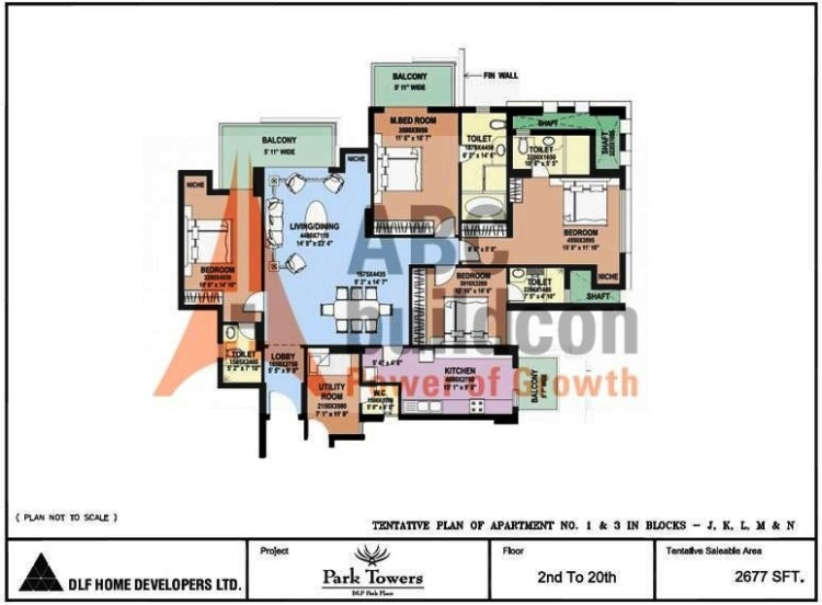 DLF Park Place Floor Plan 4 BHK + Utility – 2677 Sq. Ft.
