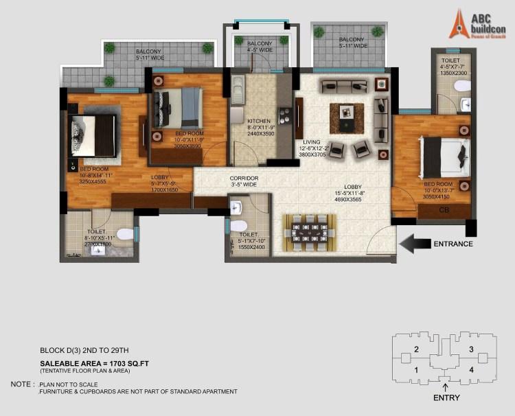 DLF Regal Gardens Floor Plan 3 BHK – 1703 Sq. Ft.