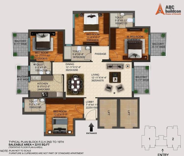DLF Regal Gardens Floor Plan 3 BHK – 2215 Sq. Ft.