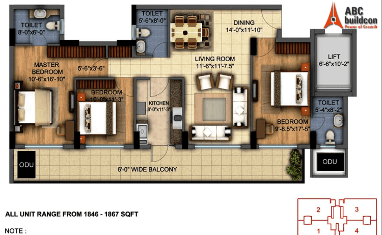 DLF Skycourt Floor Plan 3 BHK – 1867 Sq. Ft.