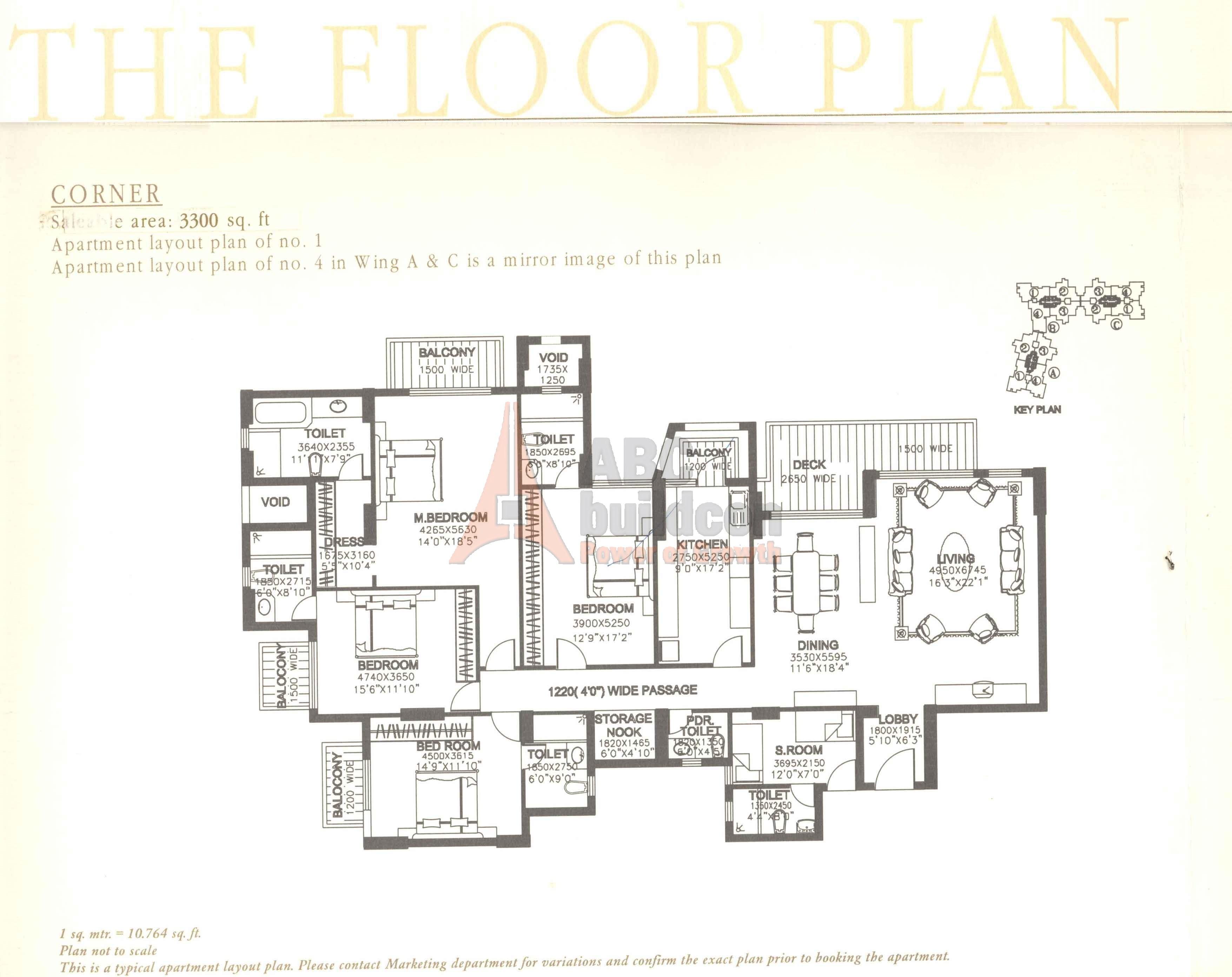 Dlf Summit Floor Plan Schematic 4 Bhk Sr Store 3300 Sq Ft