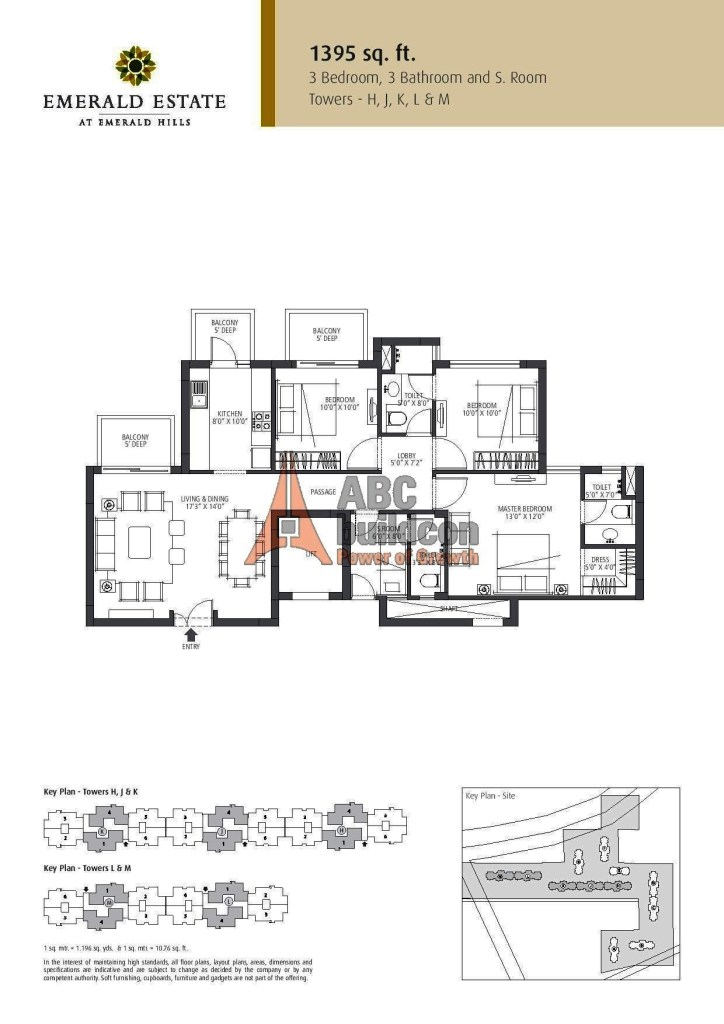 Emaar MGF Emerald Estate Floor Plan 3 BHK + S.R – 1395 Sq. Ft.