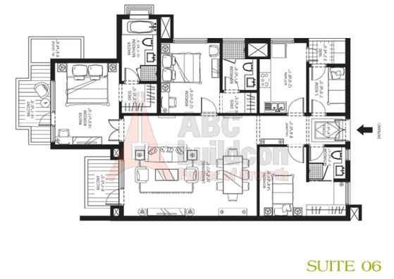 Emaar MGF Palm Drive Floor Plan 3 BHK + S.R – 1950 Sq. Ft.