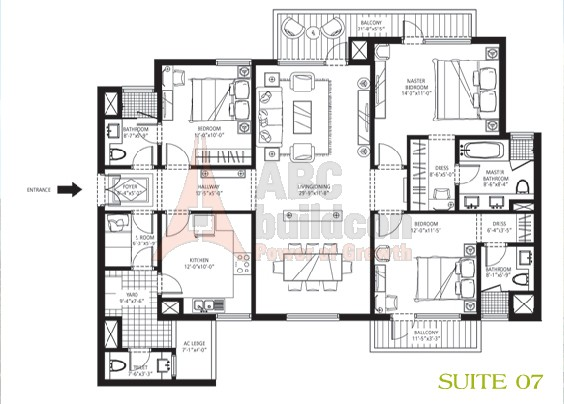 Emaar MGF Palm Drive Floor Plan 3 BHK + S.R – 2125 Sq. Ft.
