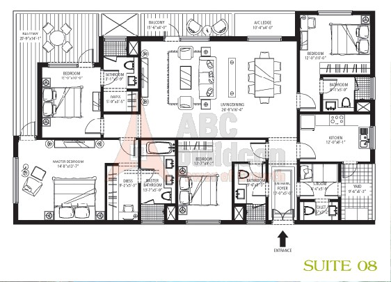 Emaar MGF Palm Drive Floor Plan 4 BHK + S.R – 2625 Sq. Ft.
