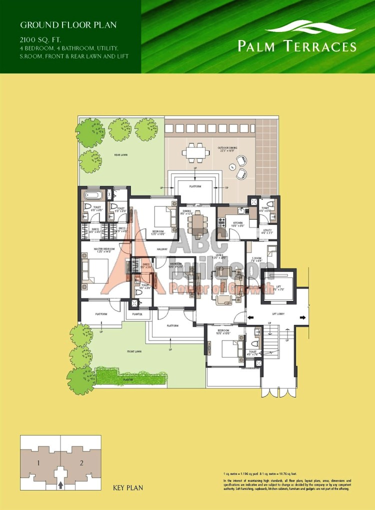 Emaar MGF Palm Terraces Floor Plan 4 BHK + S.R + Utility – 2100 Sq. Ft.