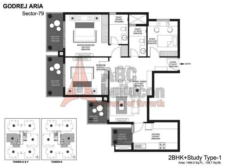 Godrej Aria Floor Plan 2 BHK + Study – 1494 Sq. Ft.