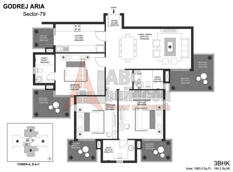 Godrej Aria Floor Plan 3 BHK – 1983 Sq. Ft.