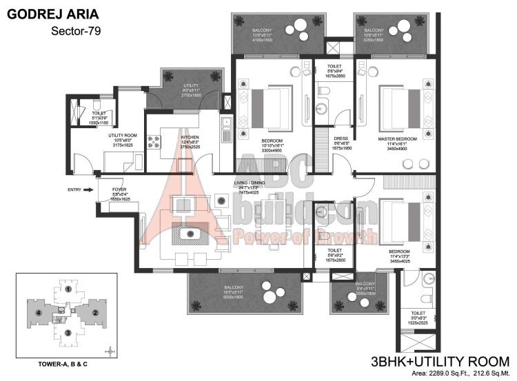 Godrej Aria Floor Plan 3 BHK + S.R – 2289 Sq. Ft.