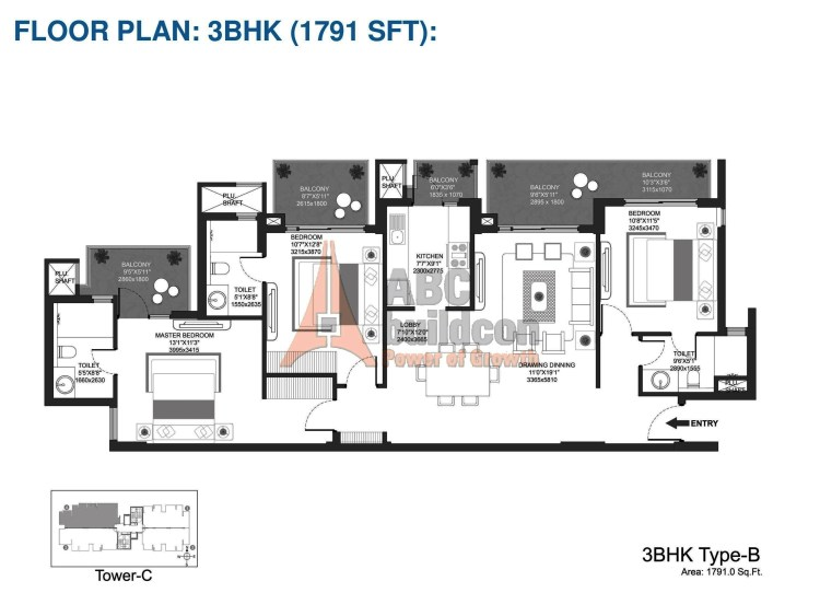 Godrej Oasis Floor Plan 3 BHK – 1791 Sq. Ft.