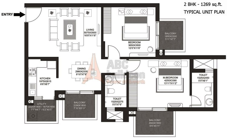 Godrej Summit Floor Plan 2 BHK + Utility – 1269 Sq. Ft.