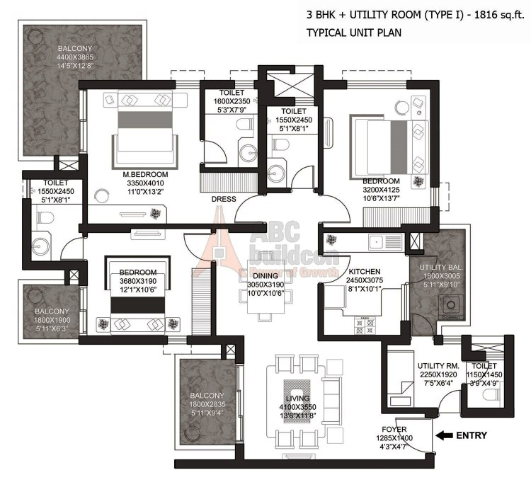 Godrej Summit Floor Plan 3 BHK + S.R (Type - I) – 1816 Sq. Ft.