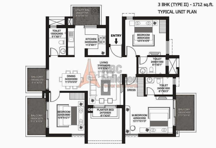 Godrej Summit Floor Plan 3 BHK + Utility (Type - II) – 1712 Sq. Ft.