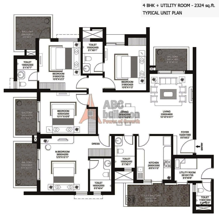 Godrej Summit Floor Plan 4 BHK + S.R  – 2324 Sq. Ft.