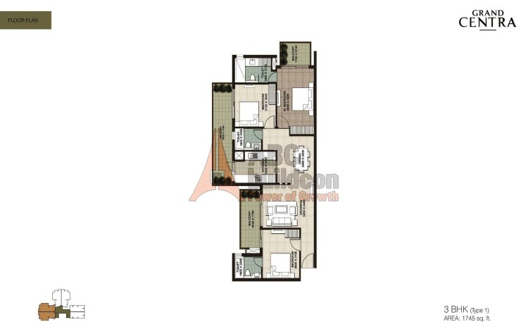 ILD Grand Centra Floor Plan 3 BHK – 1745 Sq. Ft.