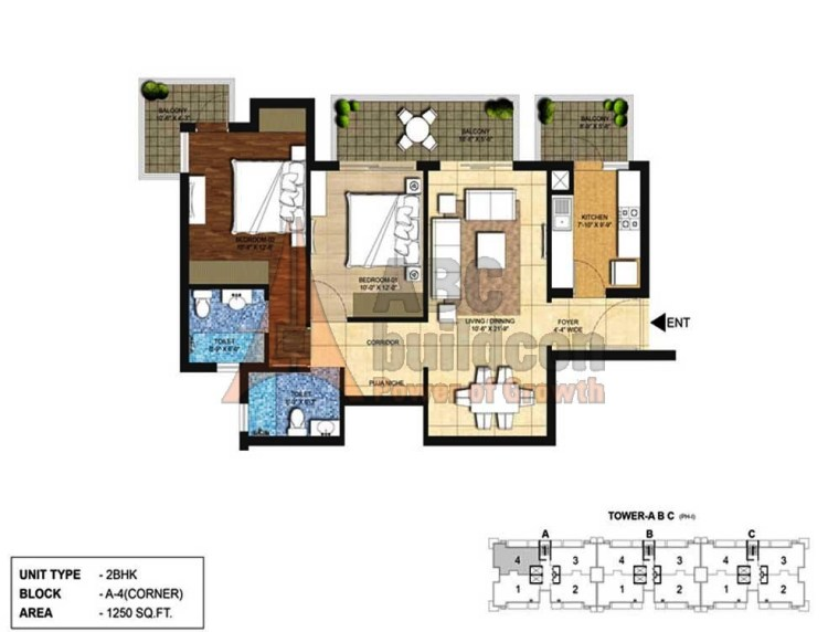 Indiabulls Centrum Park Floor Plan 2 BHK – 1250 Sq. Ft.
