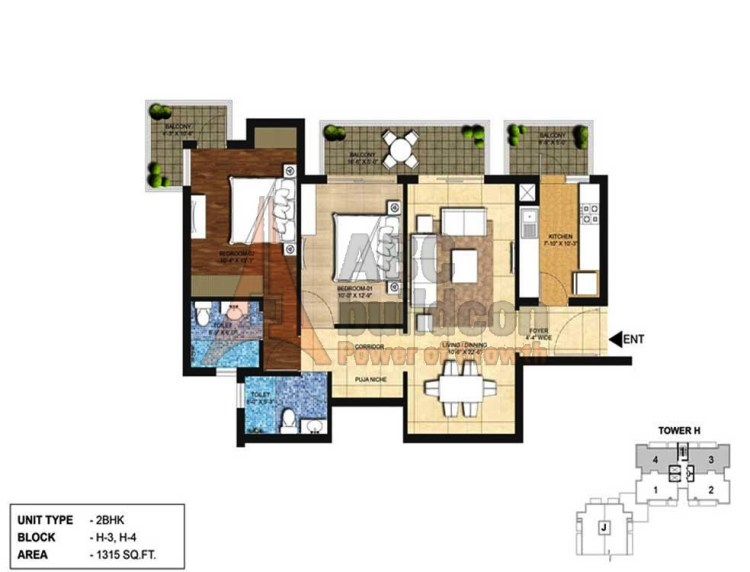 Indiabulls Centrum Park Floor Plan 2 BHK – 1315 Sq. Ft.