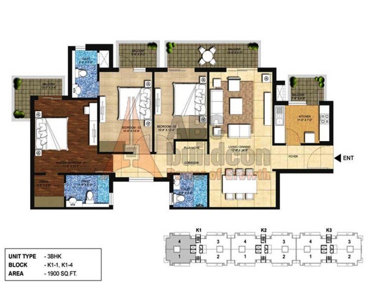 Indiabulls Centrum Park Floor Plan 3 BHK – 1900 Sq. Ft.