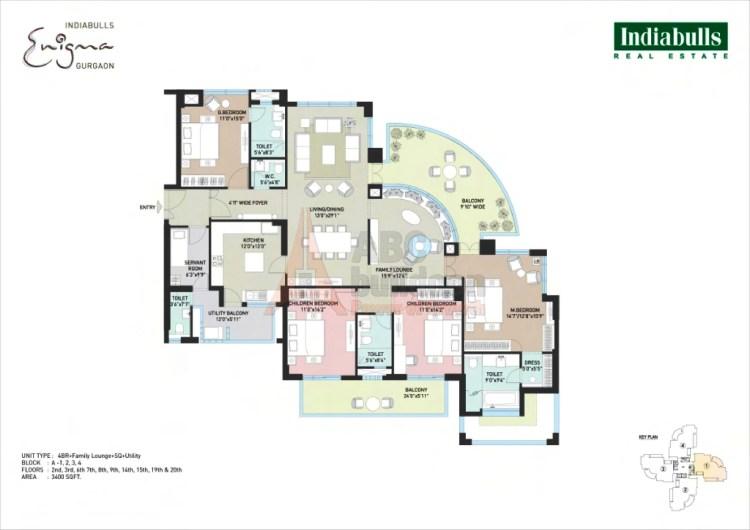 Indiabulls Enigma Floor Plan 4 BHK + S.R + F.L + Utility– 3400 Sq. Ft.